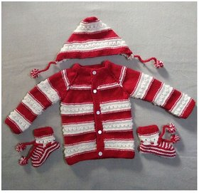 Mishti new born baby woolen sweater set with cap and socks