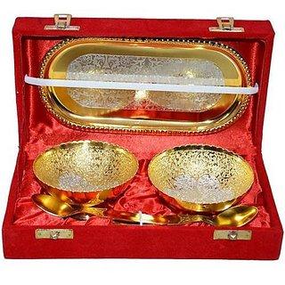 SAtya Vipal Handmade Golden 2 Brass Bowl Spoon 1 Tray Set