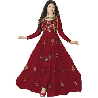 Ap Enterprise Women Georgette Anarkali Semi-Stitched Salwar Suit (ERTY10213RedFree Size)