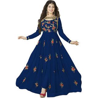 Ap Enterprise Women Georgette Anarkali Semi-Stitched Salwar Suit (ERTY10214BlueFree Size)