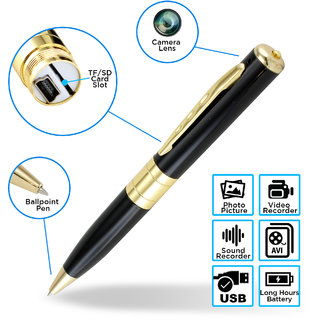 HD Pen Camera With Voice-Video Recorder And DVR-Hidden-Camcorder Black And Golden