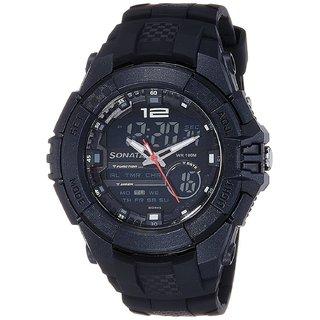 Sonata Round Analog-Digital Watch For Men-77071PP01