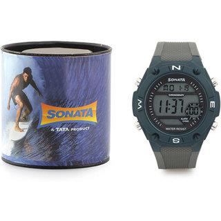 Sonata Round Digital Watch For Men-77033PP01
