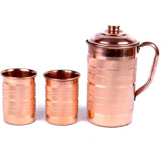 LOT OF COPPER WATER 6 PC GLASSES  1 PC JUG MINERALS WATER GOOD HEALTH