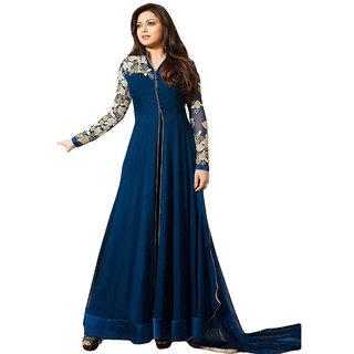 Ap Enterprise Women Georgette Anarkali Semi-Stitched Salwar Suit (ERTY10608BlueFree Size)