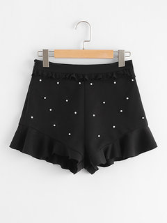 Women Summer Pearl Stretchable Black Shorts