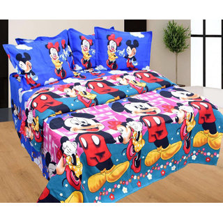 Cartoon Micky Mouse Printed Double Bed Sheet With 2 Pillow Covers