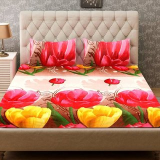 Home 3D Design Double Bedsheet with 2 Pillow Covers
