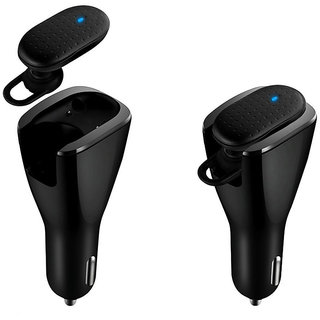 Callmate CBH-05 Bluetooth Headset With Dual USB Car Charger - Black
