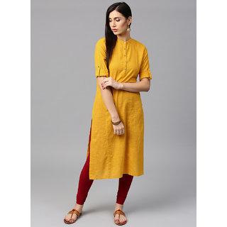 Jaipur Kurti Women Yellow Solid Kurta