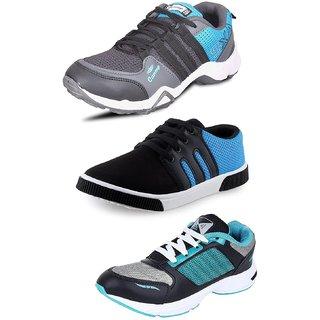 GENIAL Men's Combo Pack of 3 Footwear (1 Sneakers  2 Sports Shoes)