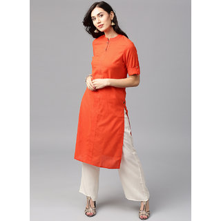 3448a9a77 Buy Jaipur Kurti Orange Solid Kurta with Off-white Palazzo Online ...