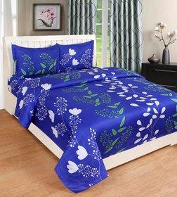 Angel Homes Floral Plain Full Size Bedsheet (Blue Patti)