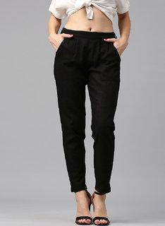 Jaipur Kurti Women Black Solid Pant Trousers