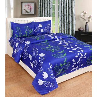 Angel Homes Floral Plain Full Size Bedsheet (Blue Patti)