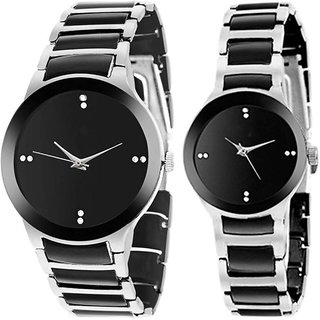 TRUE CHOICE BEST SIMPLE SOBER IIK SILVER COLLOETION ANALOG WATCH FOR COUPLE.