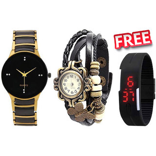 Valentime Combo of Black-Golden Metal Watch, Black Vintage Watch And Black Led Watch