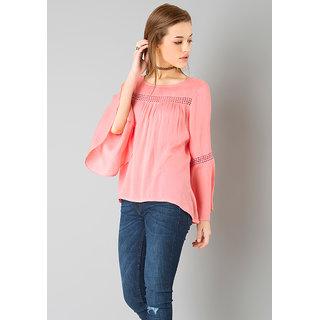 Raabta Peach Bell Sleeve Top with Lace