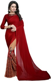 HALF MAROON (SPECIAL GEORGETTE SAREES) NEW BOLLYWOOD-INDIAN-DESIGNER-PARTY-WEAR-ETHNIC Peria-Apparel