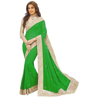 G Jelly Fashion Women's green colour  lycra Stone work designer sari with blouse piece