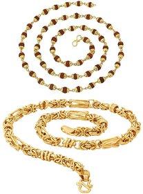 Sparkling Fancy Rudraksha  Byzantine Gold Plated Brass Chain Combo