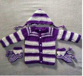 Mishti new born baby handmade sweater set with cap and socks