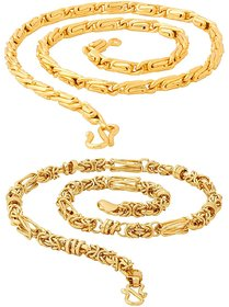 Sparkling  Fancy Round Fisher  Byzantine  Gold Plated Brass Chain Combo For Men