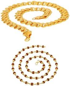 Sparkling Lotus Design Double Coated  Rudraksha Gold Plated Brass Chain Combo For Men