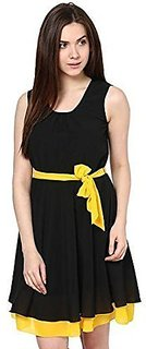 Westrobe Womens Flaired Black Yellow Short Dress