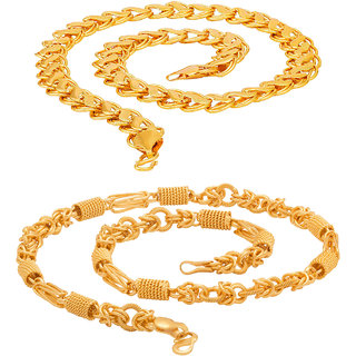 Sparkling 20'inch Gold Plated Brass Chain Combo