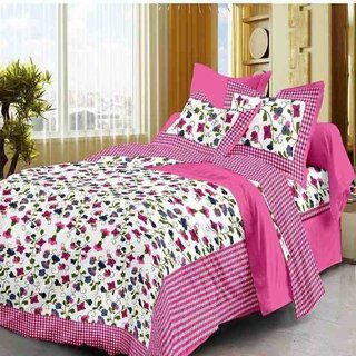 Krishna Taxtile Cotton  Sanaganeri  King Size Bedsheet  With Set of 2 Pillow Cover -   Multi Colour (90x108 Inch) (