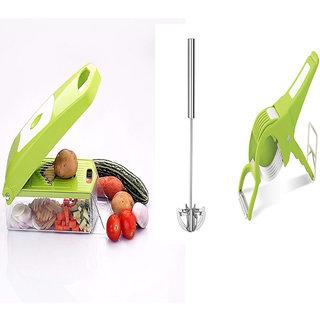 Rajwadi Fruit  Vegetable Chopper, Potato Chipser, With 6 Cutting Blades - Green With free Rajwadi Multi Cutter With Pee