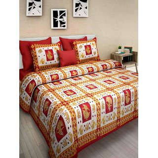 Krishna Taxtile Cotton  Sanaganeri  King Size Bedsheet  With Set of 2 Pillow Cover Multi Colour (90x108 Inch)