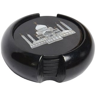 Black Stone Coaster set Taj Mahal inlay work ( 6 coster and 1 holder ) / black marble/ Size 3.5 inch diameter