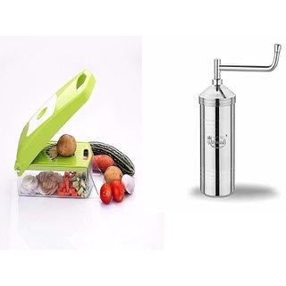 Rajwadi Fruit  Vegetable Chopper, Potato Chipser, With 12 Cutting Blades - Green With Free Rajwadi Stainless Steel Sev