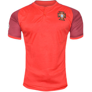 Portugal National Football Team Red Color Half Sleeve Jersey