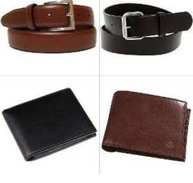 Jim-Dandyi Men's Synthetic Leather Belt  Wallet Combo