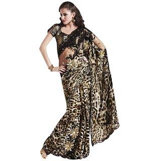 Designer Black/Brown Net Georgette Embroidered Heavy saree SC2122