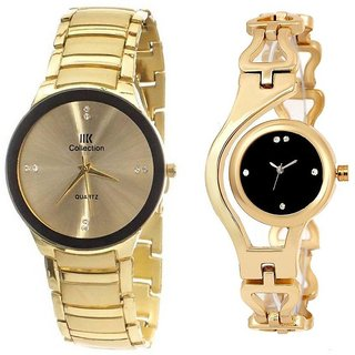 TRUE CHOICE IIK GOLD AND GOLD CHAIN RICH LOOK ANALOG WATCH FOR COUPLE.