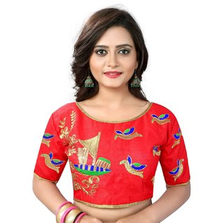 d1c33e237ee00e Buy Greenvilla Designs Red Silk Readymade with Pad Blouse Online ...