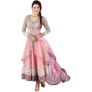 FKART Designer pink Net Embroidered Dress Material(Baby pink)