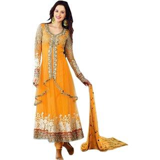 FKART Designer Orange Net Embroidered Dress Material(BABY Orange)