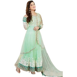 FKART Designer GREEN Net Embroidered Dress Material(BABY GREEN)