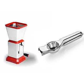 Rajwadi Stainless Steel Chilly and Dry Fruit Cutter Red With Free Rajwadi Stainless steel Lemon Citrus Squeezer