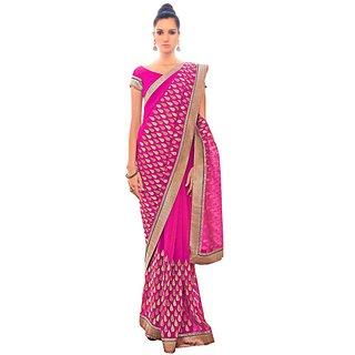 Designer Partywear Pink Embroidered Chiffon Saree SC2561