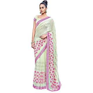 Designer Partywear Sea green Embroidered Chiffon Saree SC2565