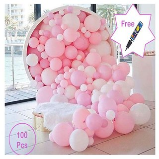 Party Decor Set Of 50 Piece Pink And Pieces White Balloons For Birthday Decorations Order Today Get 1 Bal