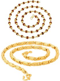 Sparkling Jewellery Fancy Rudraksha and Round Fisher Gold Plated Brass Chain Combo For Men