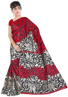 svb saree red colour taffeta saree without blouse piece