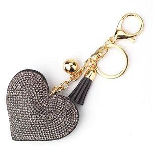 Colors Fashion Car Play Full Crystal Rhinestone Heart Key Chain-Gold Silver
